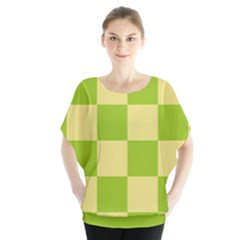 Green And Yellow (square Pattern) Blouse