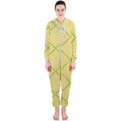 Cross Lines (yellow And Green) Hooded Jumpsuit (ladies)