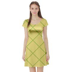 Cross Lines (green And Yellow) Short Sleeve Skater Dress