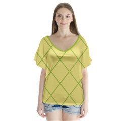 Cross Lines (green And Yellow) V Neck Flutter Sleeve Top
