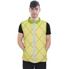 Cross Lines (green And Yellow) Men s Puffer Vest