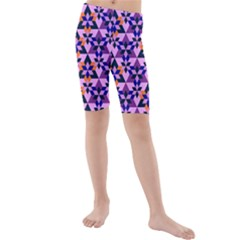 Crystal Shapes And Snowflake Kids  Mid Length Swim Shorts