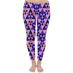 Crystal Shapes And Snowflake Classic Winter Leggings