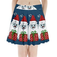 Yeti Xmas Pleated Mini Skirt