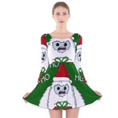 Yeti Xmas Long Sleeve Velvet Skater Dress