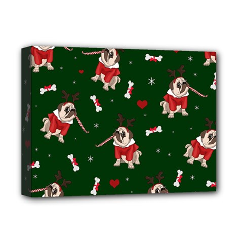 Pug Xmas Pattern Deluxe Canvas 16  X 12
