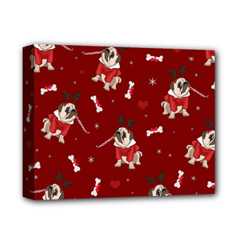 Pug Xmas Pattern Deluxe Canvas 14  X 11