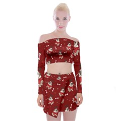 Pug Xmas Pattern Off Shoulder Top With Mini Skirt Set