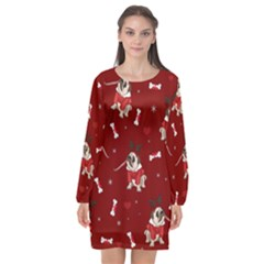 Pug Xmas Pattern Long Sleeve Chiffon Shift Dress