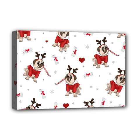 Pug Xmas Pattern Deluxe Canvas 18  X 12