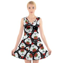 Yeti Xmas Pattern V Neck Sleeveless Skater Dress