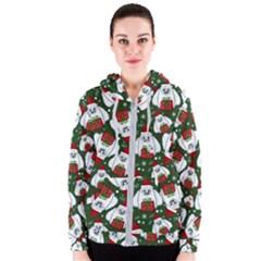 Yeti Xmas Pattern Women s Zipper Hoodie