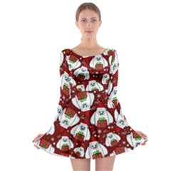 Yeti Xmas Pattern Long Sleeve Skater Dress