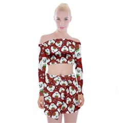 Yeti Xmas Pattern Off Shoulder Top With Mini Skirt Set
