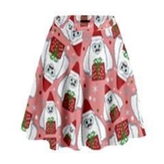 Yeti Xmas Pattern High Waist Skirt