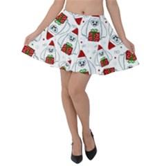 Yeti Xmas Pattern Velvet Skater Skirt
