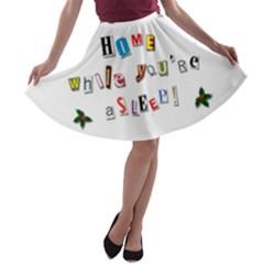 Santa s Note A Line Skater Skirt