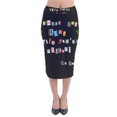 Santa s Note Velvet Midi Pencil Skirt