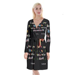 Santa s Note Long Sleeve Velvet Front Wrap Dress