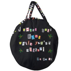 Santa s Note Giant Round Zipper Tote