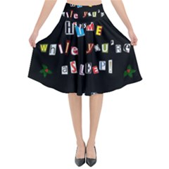 Santa s Note Flared Midi Skirt