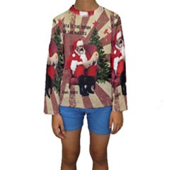 Karl Marx Santa  Kids  Long Sleeve Swimwear