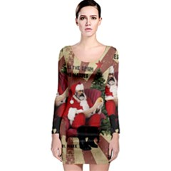 Karl Marx Santa  Long Sleeve Bodycon Dress