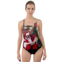 Karl Marx Santa  Cut Out Back One Piece Swimsuit