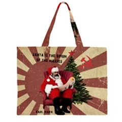 Karl Marx Santa  Zipper Large Tote Bag