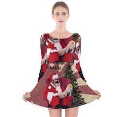 Karl Marx Santa  Long Sleeve Velvet Skater Dress