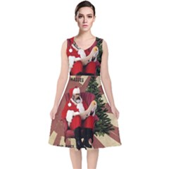 Karl Marx Santa  V Neck Midi Sleeveless Dress