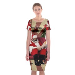 Karl Marx Santa  Classic Short Sleeve Midi Dress