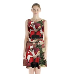 Karl Marx Santa  Sleeveless Waist Tie Chiffon Dress