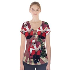 Karl Marx Santa  Short Sleeve Front Detail Top