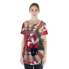 Karl Marx Santa  Skirt Hem Sports Top