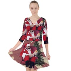 Karl Marx Santa  Quarter Sleeve Front Wrap Dress