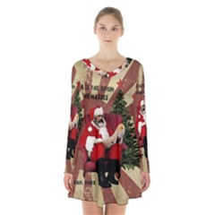 Karl Marx Santa  Long Sleeve Velvet V Neck Dress