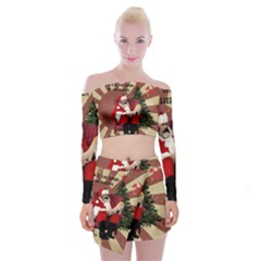 Karl Marx Santa  Off Shoulder Top With Mini Skirt Set