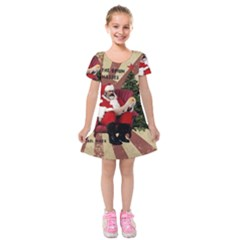 Karl Marx Santa  Kids  Short Sleeve Velvet Dress