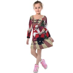 Karl Marx Santa  Kids  Long Sleeve Velvet Dress