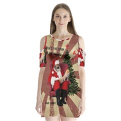 Karl Marx Santa  Shoulder Cutout Velvet One Piece