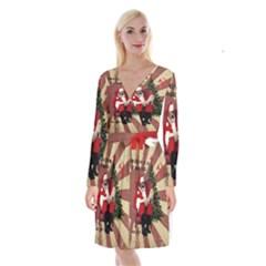 Karl Marx Santa  Long Sleeve Velvet Front Wrap Dress