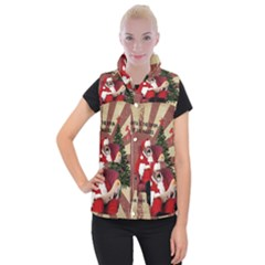 Karl Marx Santa  Women s Button Up Puffer Vest