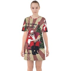 Karl Marx Santa  Sixties Short Sleeve Mini Dress