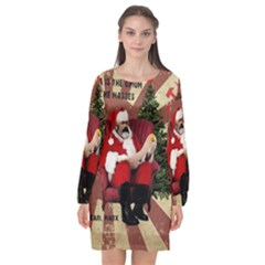 Karl Marx Santa  Long Sleeve Chiffon Shift Dress