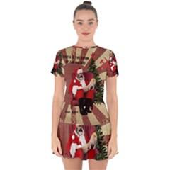 Karl Marx Santa  Drop Hem Mini Chiffon Dress