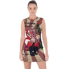 Karl Marx Santa  Lace Up Front Bodycon Dress