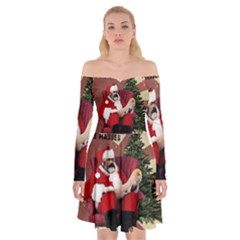 Karl Marx Santa  Off Shoulder Skater Dress