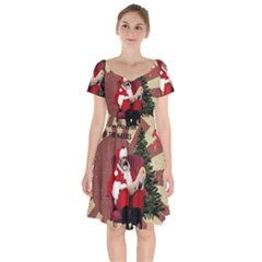 Karl Marx Santa  Short Sleeve Bardot Dress