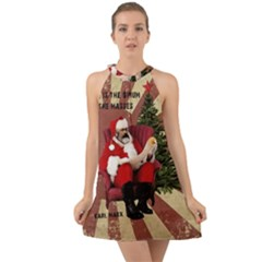 Karl Marx Santa  Halter Tie Back Chiffon Dress